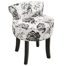 Tabouret / Dossier Bas Coiffeuse Chaise avec Bois Pieds - Noir / Blanc OCH9002