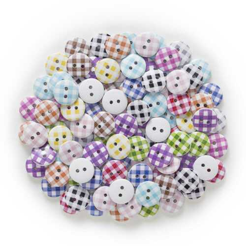 50pcs Pattern Wood Buttons for Sewing Scrapbooking Home Making Decor 15mm