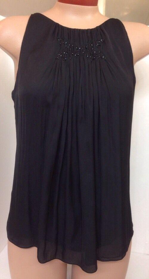 Nina Ricci Blouse schwarz With Glass Beads Größe 36