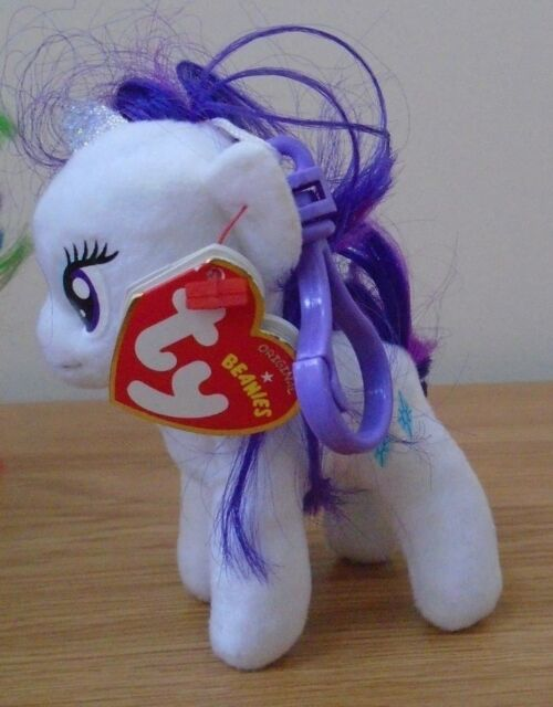 eebac6fd03a Ty Beanie Babies 4in My Little Pony Rarity Clip Plush Beanies Soft Toy  Keyring