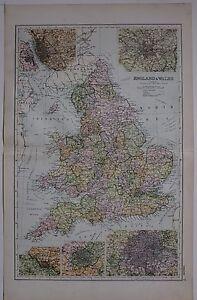 1910 ORIGINAL MAP ENGLAND & WALES LIVERPOOL MANCHESTER BIRMINGHAM BRISTOL LONDON
