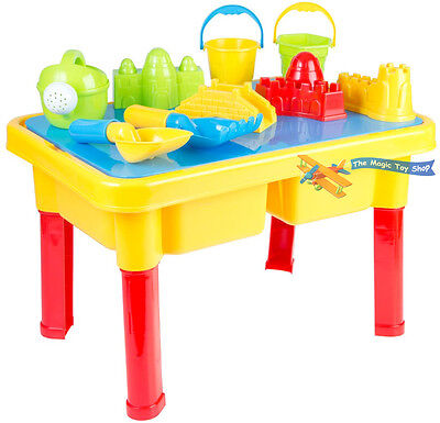 Sand and Water Table Garden Sandpit Play Set Toy with Umbrella Sand Toys Bucket