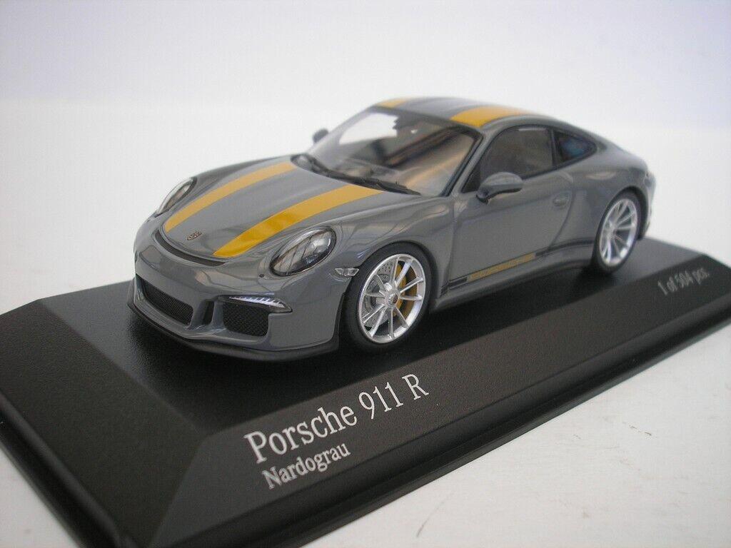 Porsche 911 R (991) 2016 Nardo gris 1 43 Minichamps 410066232 Nuovo