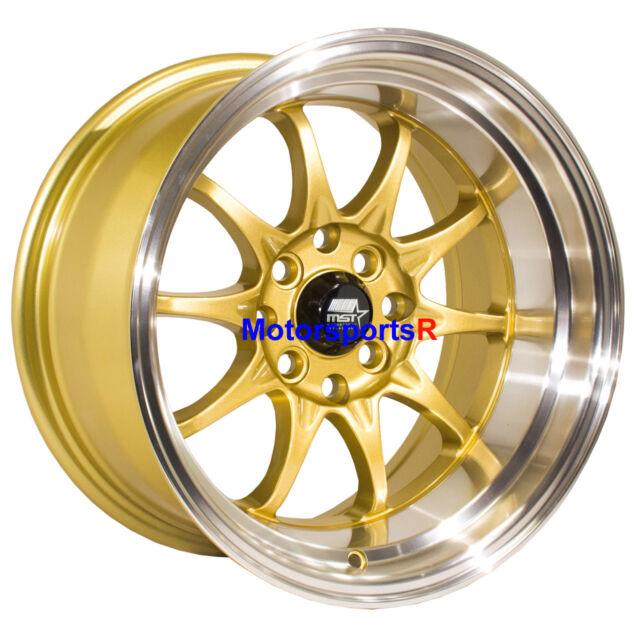 MST Wheels MT11 Rims 15x8 +0 Gold Deep Lip 4x100 Stance 94