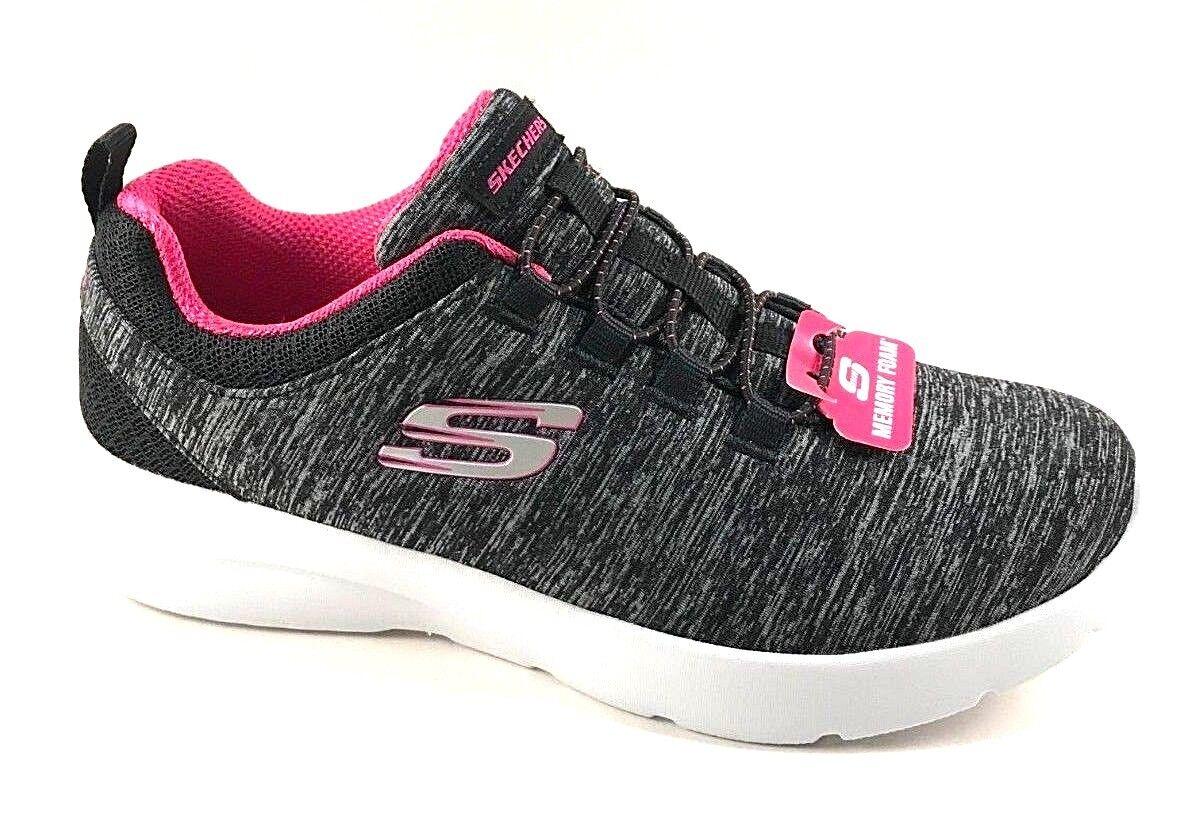 Skechers 12965 Black Hot Pink Memory Foam Slip On Sneakers