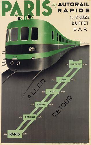 Vintage Paris To Maestrict Netherlands Express Rail Service Poster Print A3//A4