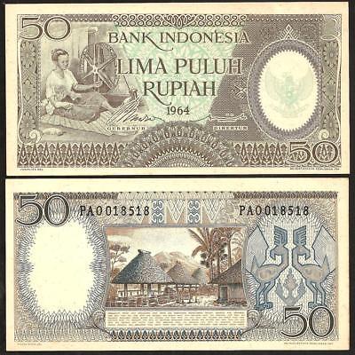 UNC P-96 INDONESIA 50 RUPIAH 1964