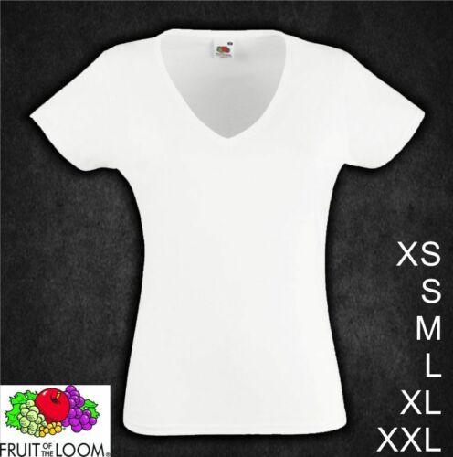 Lady Girl T-Shirt V Ausschnitt NEU weiß kurzarm FRUIT OF THE LOOM X S M L XL XXL