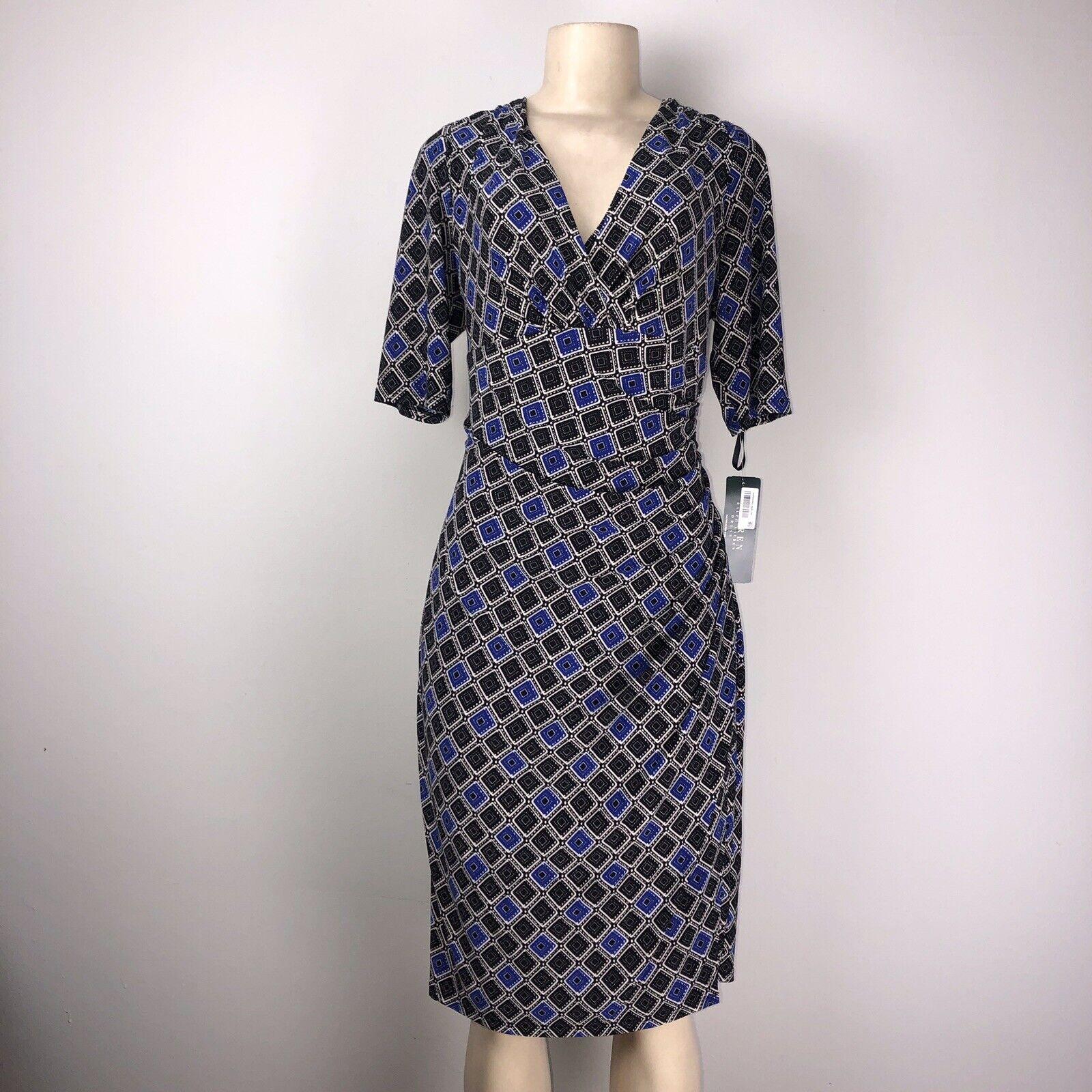 Lauren by Ralph Lauren Ruche Wrap Short Sleeve schwarz Blau Wrap Dress Größe 14 NWT