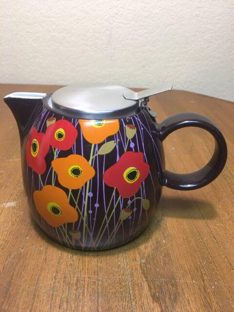 Tea Forte PUGG 24oz Ceramic Teapot, Improved Stainless Tea Infuser Loose Basket