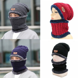2pcs Set Mens Girl Beanie Hat And Neck Scarf Knitted Gloves Set Winter Warmer UK