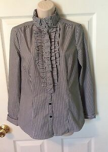 WORTHINGTON-STRETCH-WOMENS-SIZE-SMALL-BLOUSE-TOP-RUFFLED-FRONT-STRIPED