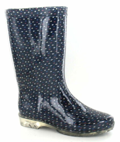 Ladies X1183 Dark Navy Multi Colour Square Print PVC Wellies