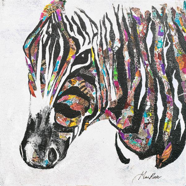 Gina Ritter  Safari Collage I Keilrahmen-Bild Leinwand Zebra bunt Pop modern