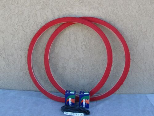 2 LINERS FIXIE TUBES /& 2 NEW 700 X 35 /'/'C/'/' ALL RED BICYCLE TIRES WITH 2