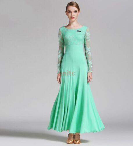 Ladies Foxtrot Waltz Ballroom Modern Tango Dance Dress Long Lace Dress S-XXL