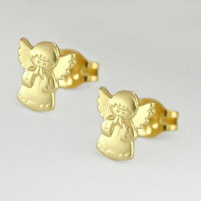 FäHig Mädchen Betender Schutz Engel Ohrstecker Kinder Ohrringe Aus Echt Gold 333 8 Kt