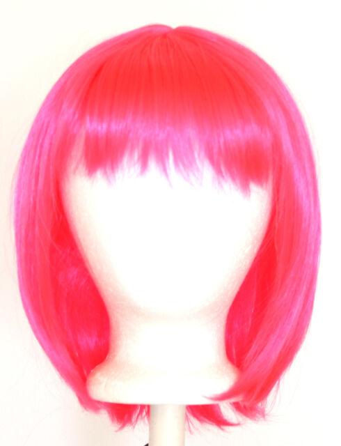 14'' Straight Shoulder Length w/ Short Bangs Hot Pink Wig NEW