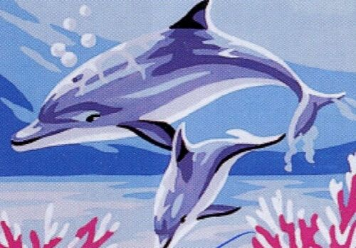 Stickpackung Stickbild Vordruck 20x15 cm Delfin Delfine Delphin Dauphins Kit