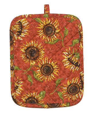"SUNFLOWERS LG Quilted POTHOLDER 9""x7"" Yellow Sun Flowers Pot Holder Burnt Orange"
