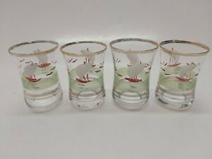Vintage-Hand-Painted-Shot-Shooter-Schnapps-Glasses-Nautical-Theme-Set-of-4