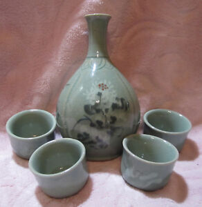 Vintage-Hand-Painted-Glazed-Porcelain-Japan-Oriental-Eastern-Tea-Sake-Set