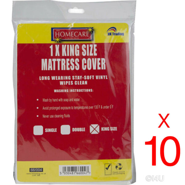 10 X King Fitted Mattress Protector Sheet Waterproof Vinyl Bed Wetting