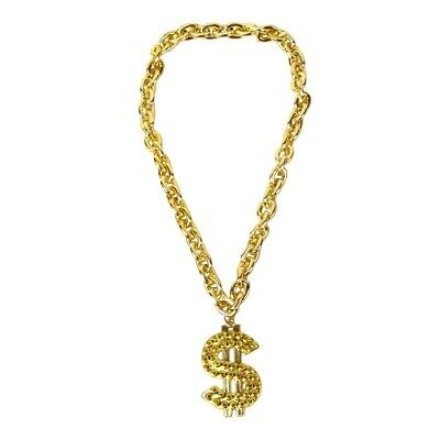 Gold Chain Dollar Sign Pendant Necklace Hip Hop Rapper Jewelry Costume Accessory