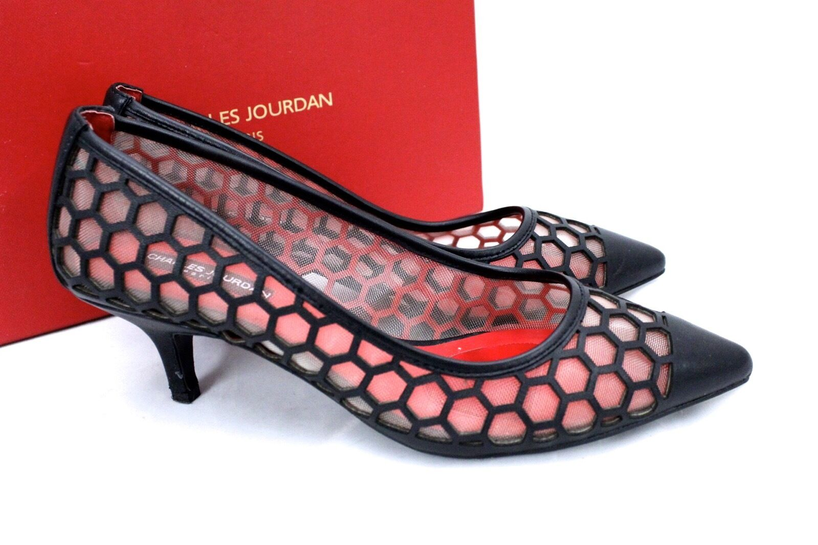 Charles Jourdan Londen Leather Honeycomb Honeycomb Honeycomb Mesh Kitten Heel Pumps 8.5 Black C1670 95c721