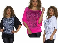 WOMENS LADIES ANIMAL TIGER PRINT RHINESTONE BATWING TUNIC TOP SIZE 10 12 14 BNWT