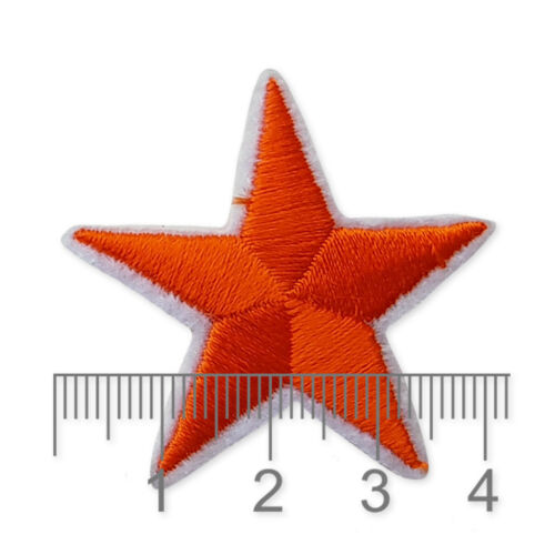 Red Gold Stars Iron Sew on Embroidered Appliques Patches Motifs Self Adhesive
