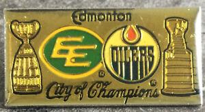 Vintage Edmonton Alberta City of Champions-Oilers NHL/Eskimos CFL lapel pin-w