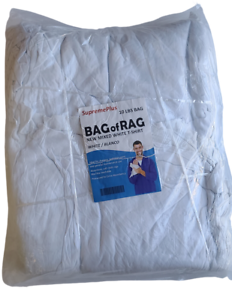New Premium White T-Shirt Knit Rags, 100% Cotton, cleaning Cloth 10 lbs. Bags...