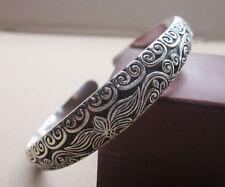 Gypsy Lotus Engraved Bangle Bracelet Tibetan Silver Boho Bohemian Hippie Jewelry