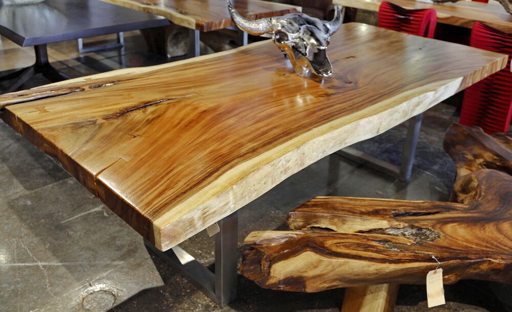 96 Quot Dining Table Acacia Wood Slab Live Edge Free Form