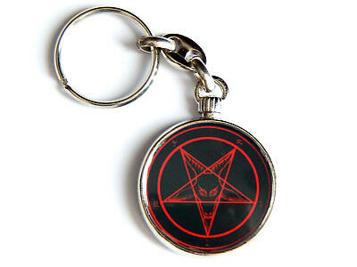 Sigil Of Baphomet Church Of Satan Quality Chrome Keyring Picture Both Sides Superiore (In) Qualità