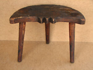 Old-Antique-Primitive-Wooden-Wood-Chair-Three-Legged-Milking-Stool-Rustic-20th