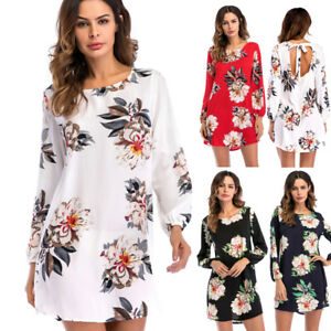 Womens-Floral-Long-Tops-Ladies-Summer-Evening-Party-Tie-Back-T-Shirt-Mini-Dress