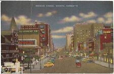 Douglas Avenue at Night in Wichita KS Postcard
