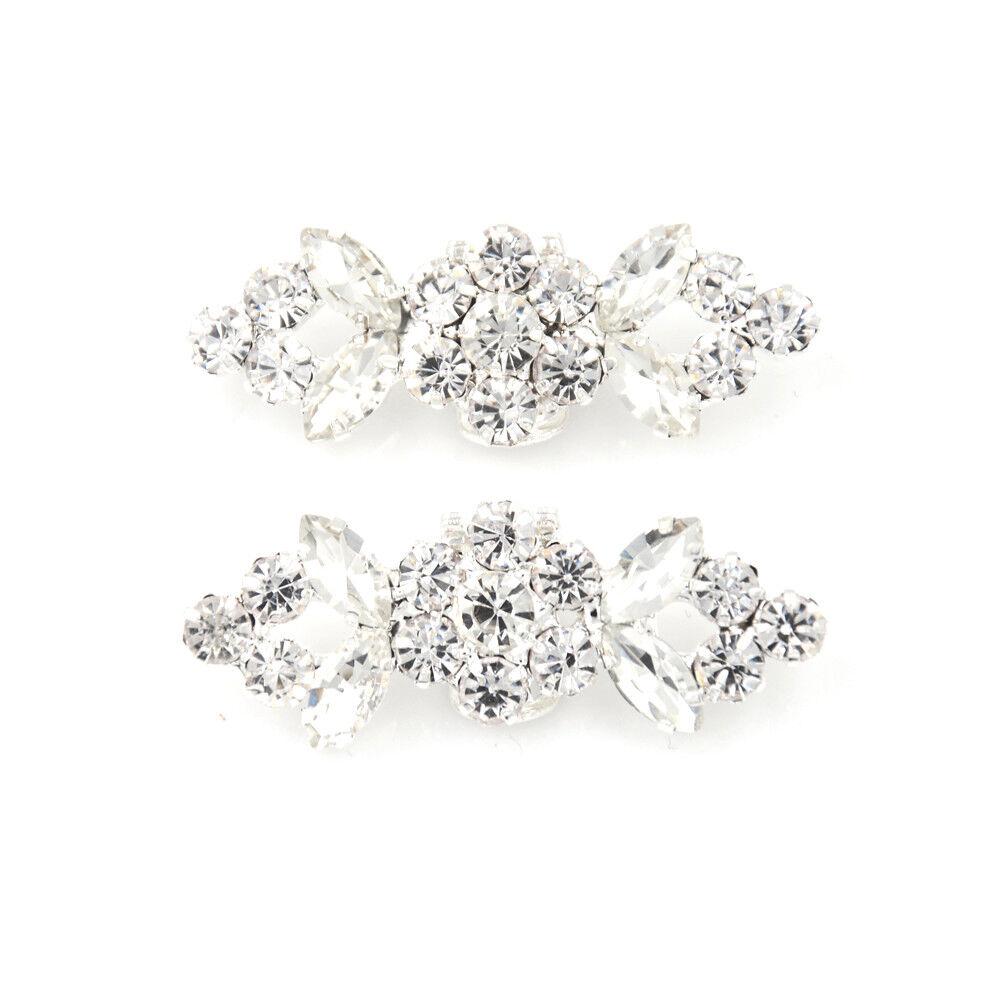 2Pcs/Pair Shoes Clips Rhinestone Crystal Flower Buckle Bridal Wedding Decor F *O