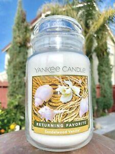 ☆☆SANDALWOOD VANILLA☆☆ LARGE YANKEE CANDLE JAR~ FREE SHIPPING☆☆GREAT FRESH SCENT