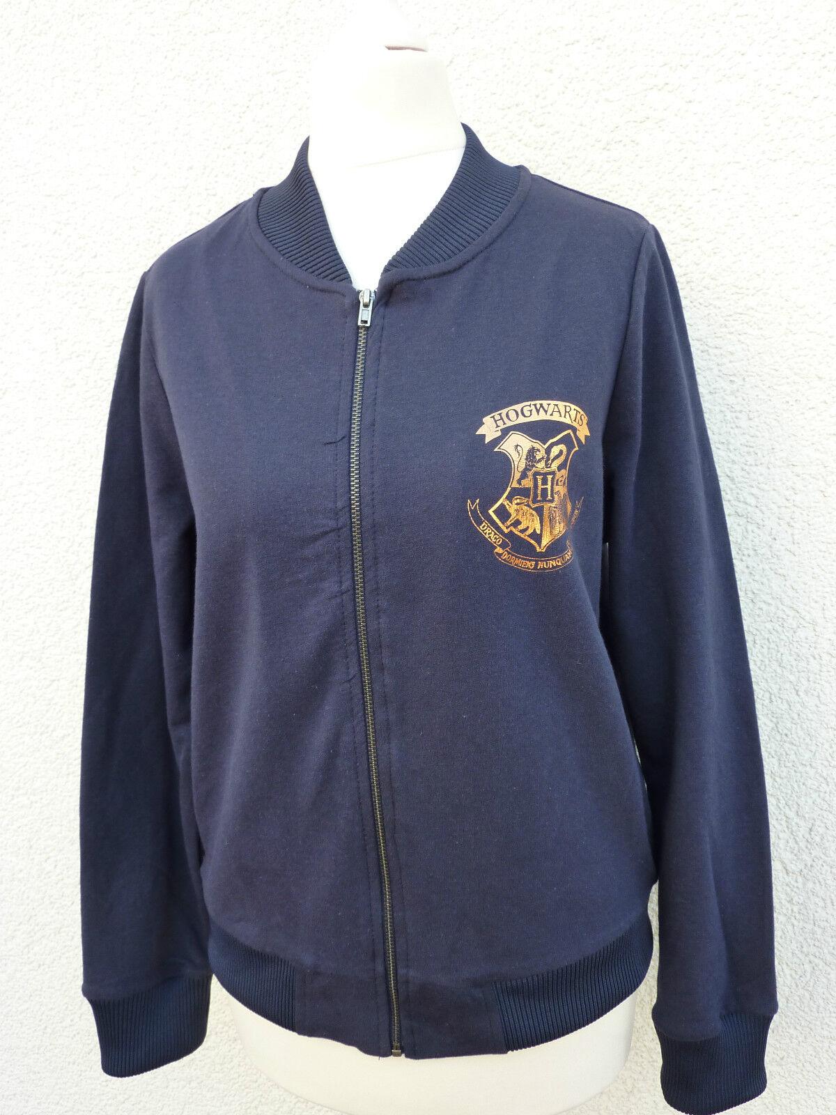Harry Potter Damen Jacke Übergang College Hogwarts Swearshirt Stoff Blau 40-44