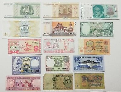 MBW1 Lot of 15 Worldwide Banknotes k131