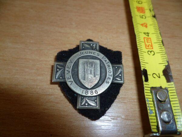 (b14m1) Medaille Ancienne Metal 1886 Vevey Jeunes Patriotes Signee Huguenin Promouvoir La Production De Fluide Corporel Et De Salive