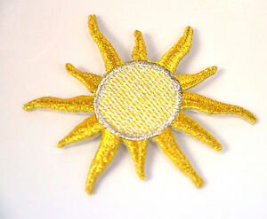 GOLD-SUN-SHOOTING-STAR-GOLDEN-Embroidered-Iron-Sew-On-Cloth-Patch-Badge-APPLIQUE