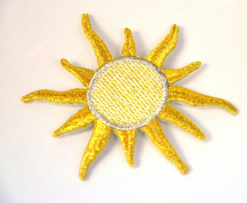 GOLD SUN SHOOTING STAR GOLDEN Embroidered Iron Sew On Cloth Patch Badge APPLIQUE