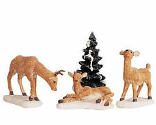 Lemax Decoration 'Dad Deer & Fawns', Christmas Cake Decorating,Set of 4 Figures
