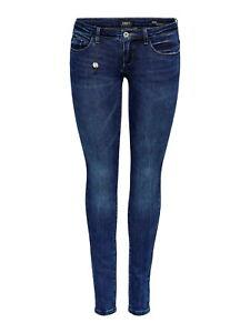 Only-Damen-Jeans-Hose-onlCoral-Slim-Fit-Skinny-Roehre-Low-Cut-Hueftjeans-blau