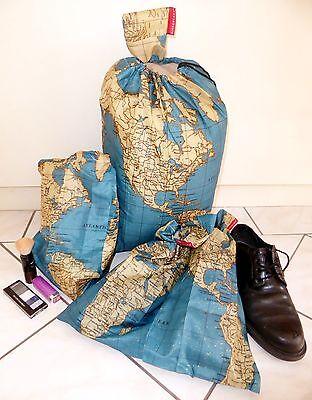Kikkerland Maps Around the World Travel Bag Set 4 pieces laundry bags