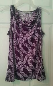 The-Limited-Sz-XS-Plum-White-Print-Sleeveless-Top-Slouch-Neck-Stretch